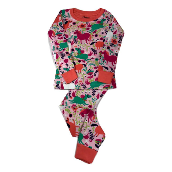 Hatley Roaming Horses Girls Two Piece Organic Cotton Pajamas