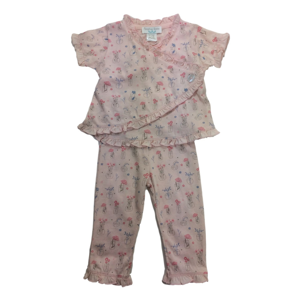 Feather Baby Draped Pink Kimono 2 Piece Set - Frolicstyle