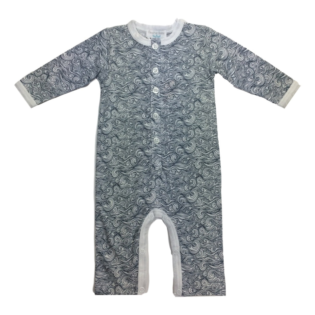 Feather Baby Long Sleeve Anime Wave Blue Romper - Frolicstyle