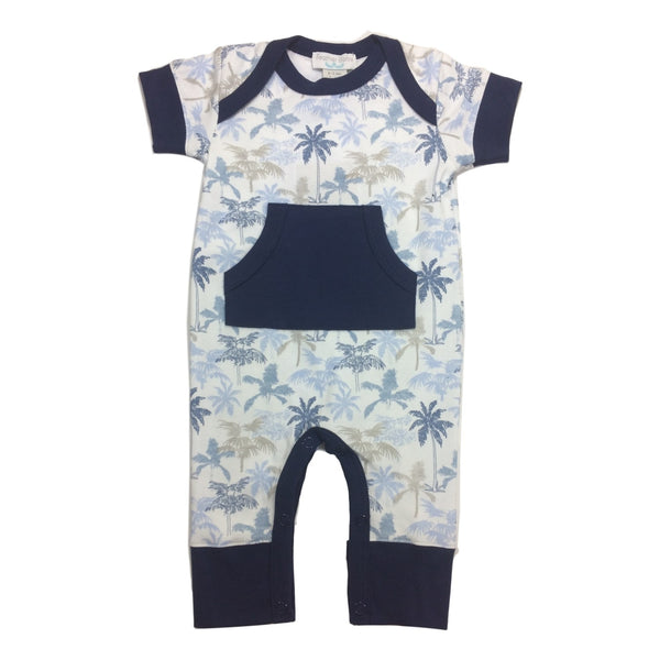 Feather Baby Kangaroo Blue Palm Tree Short Sleeve Romper - Frolicstyle