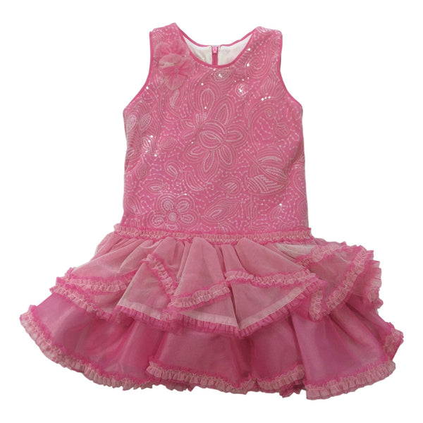 Isobella and Chloe Cupcake Sparkle Pink Sleeveless Dress - Frolicstyle