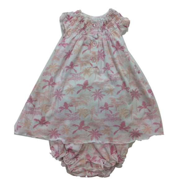 Feather Baby Dress&Bloomer Set With Pink Palm Trees - Frolicstyle