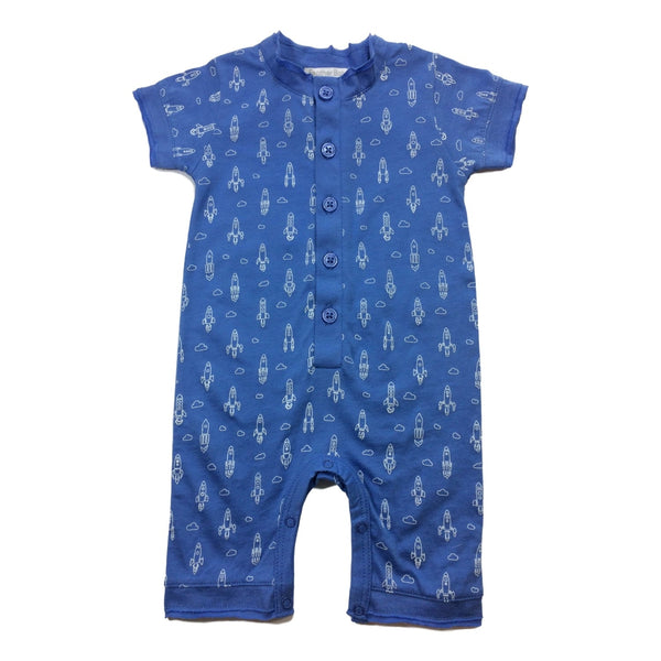 Feather Baby Short Sleeve Blue Romper With White Rockets - Frolicstyle