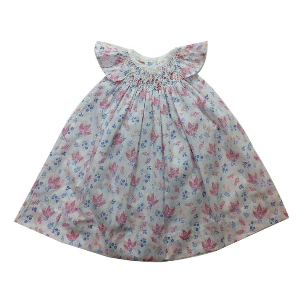 Feather Baby Handsmock Dress&Bloomer Set With Pink and Blue Flowers - Frolicstyle