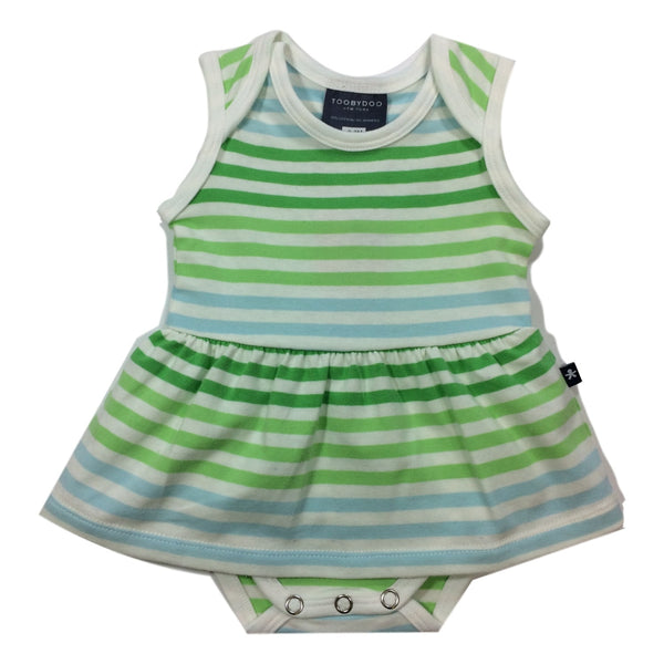 Toobydoo Green Striped Sleeveless Baby Bodysuit Dress - Frolicstyle