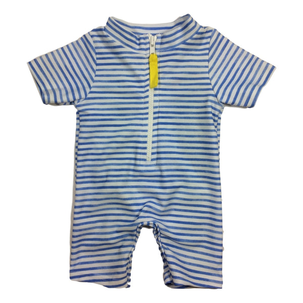 Toobydoo Blue Striped Zip Front Short Sleeve Sunsuit / Coverup