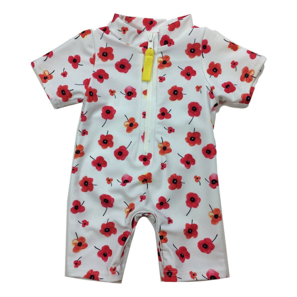 Toobydoo Red Flower Zip Front Short Sleeve Sunsuit / Coverup - Frolicstyle