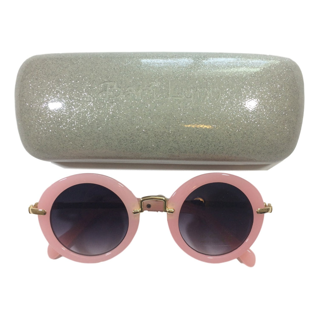 Bari Lynn Pink Circle Retro Frame Sunglasses and Carrying Case - Frolicstyle