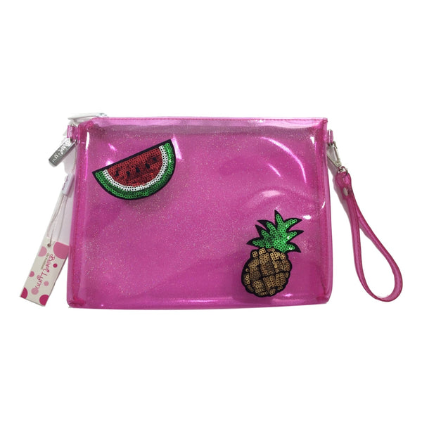 Bari Lynn Pink Glitter Jelly Pineapple and Watermelon Emoji Pocketbook - Frolicstyle