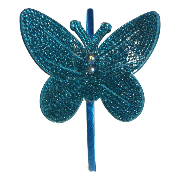 Bari Lynn Girls Aquamarine Butterfly Studded Headband