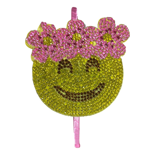 Bari Lynn Girls Smiley Face Emoji Studded Headband