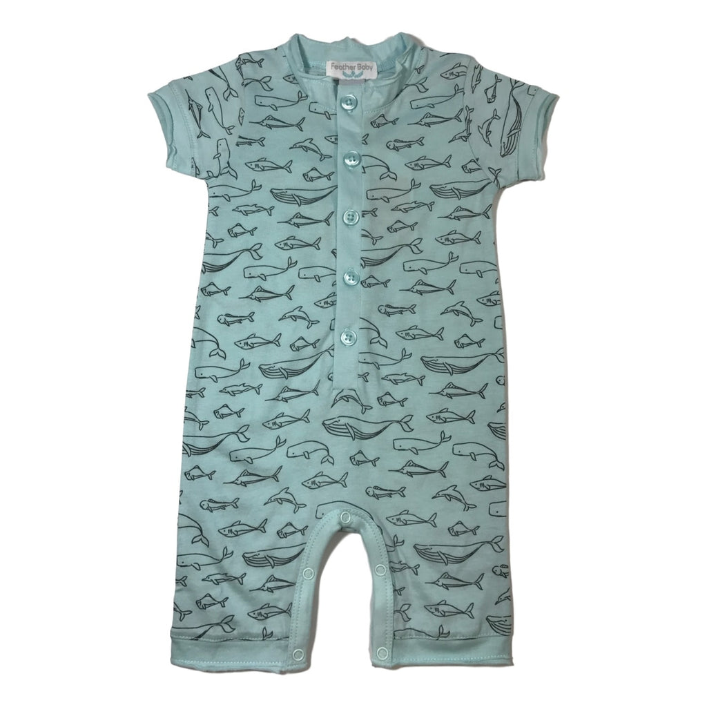 Feather Baby Short Sleeve Aqua Romper - Frolicstyle