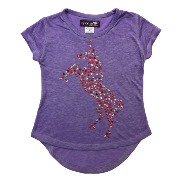 Sparkle by Stoopher Unicorn Heart Lavender Short Sleeve Tee - Frolicstyle