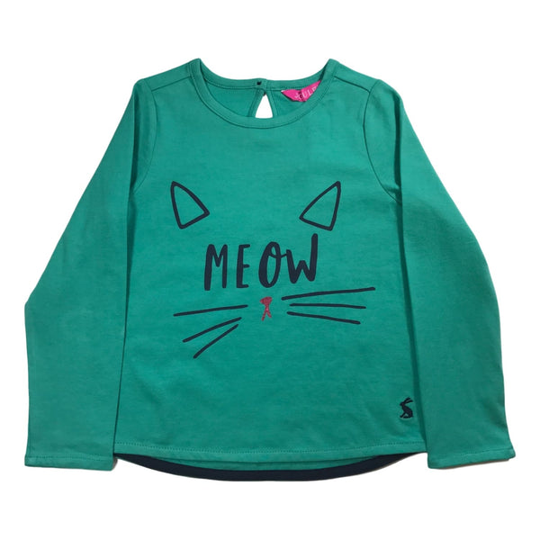 Joules Girls Bessie Green Screenprint Long Sleeve Top - Frolicstyle