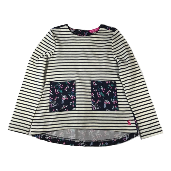 Joules Girls Gria Navy Stripe Long Sleeve Top - Frolicstyle