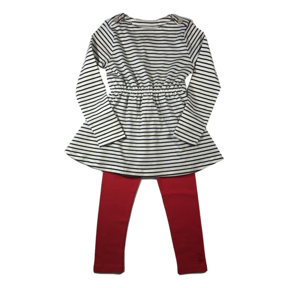 Joules Girls Giona Navy Stripe Long Sleeve Dress and Legging Set - Frolicstyle