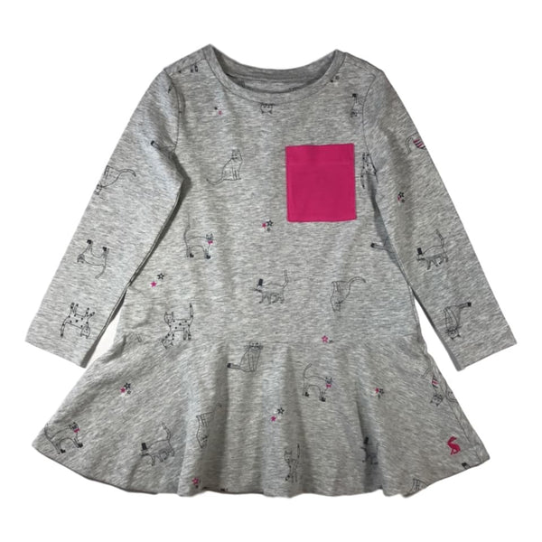 Joules Girls Josie Grey Long Sleeve Trapeze Dress - Frolicstyle