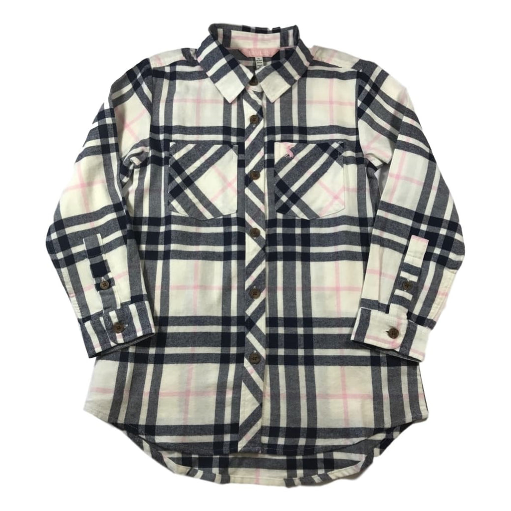 Joules Girls Dixie Creme Checked Long Sleeve Shirt - Frolicstyle