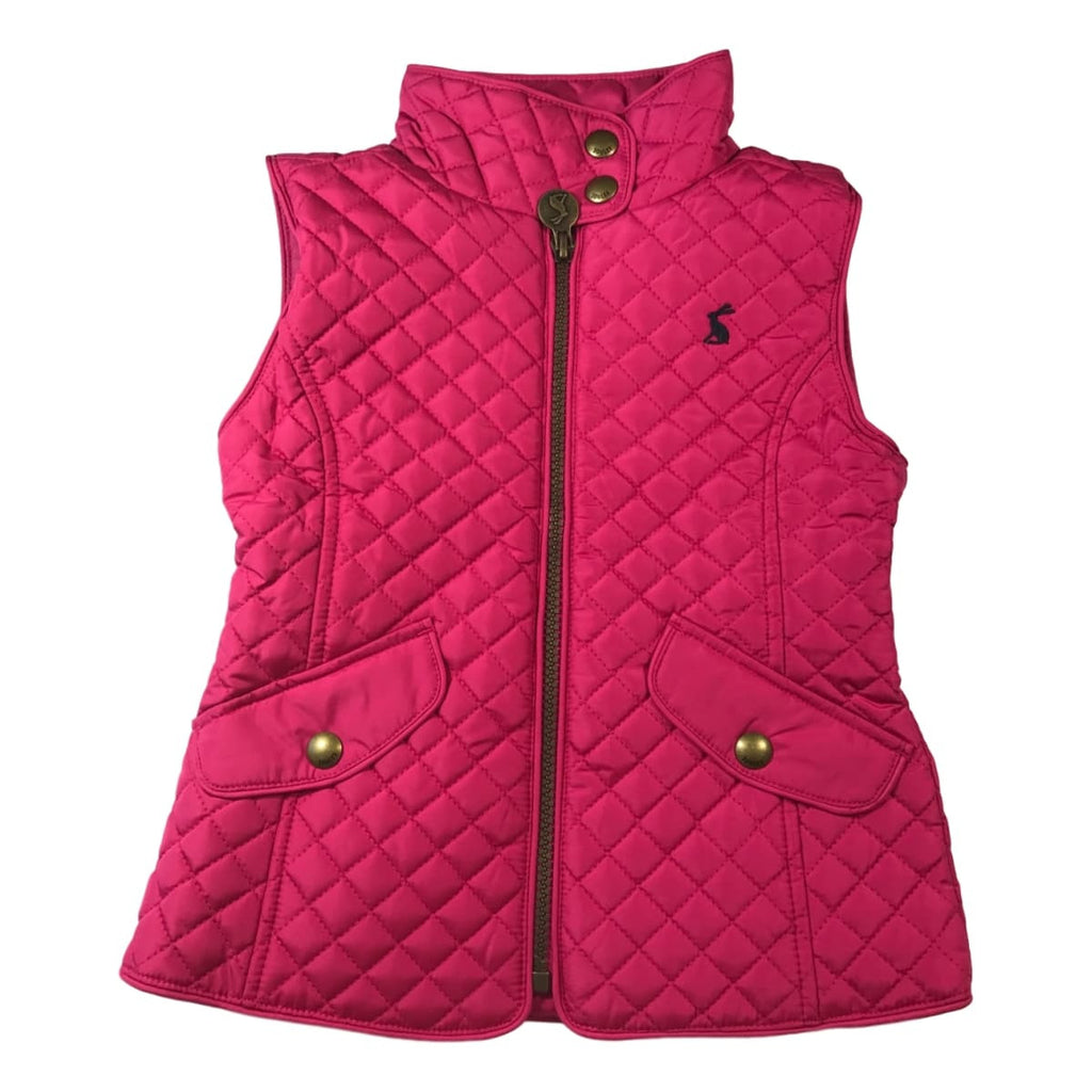 Joules Girls Jilly Fuchsia Quilted Sleeveless Vest - Frolicstyle