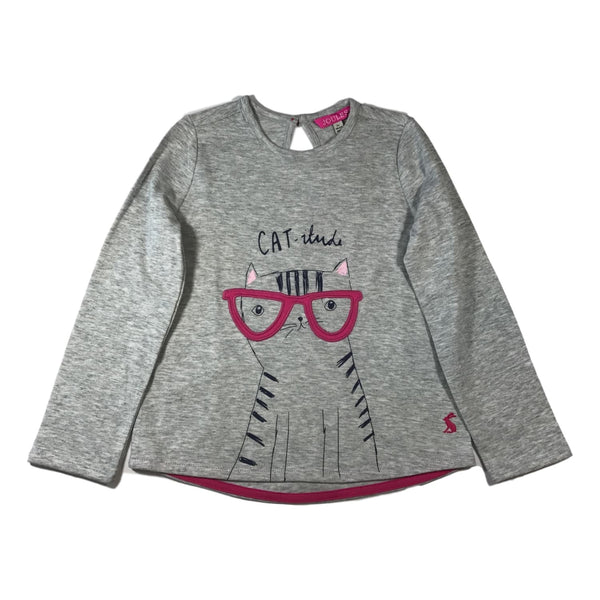 Joules Girls Ava Grey Cat Applique Long Sleeve Top - Frolicstyle