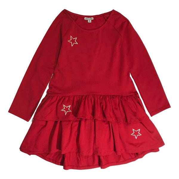 Art&Eden Girls Long Sleeve Organic Cotton Red Dress - Elizabeth - Frolicstyle