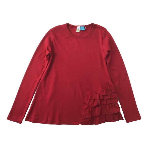 Blu By Blu Red Side Ruffle Knit Long Sleeve Top - Frolicstyle