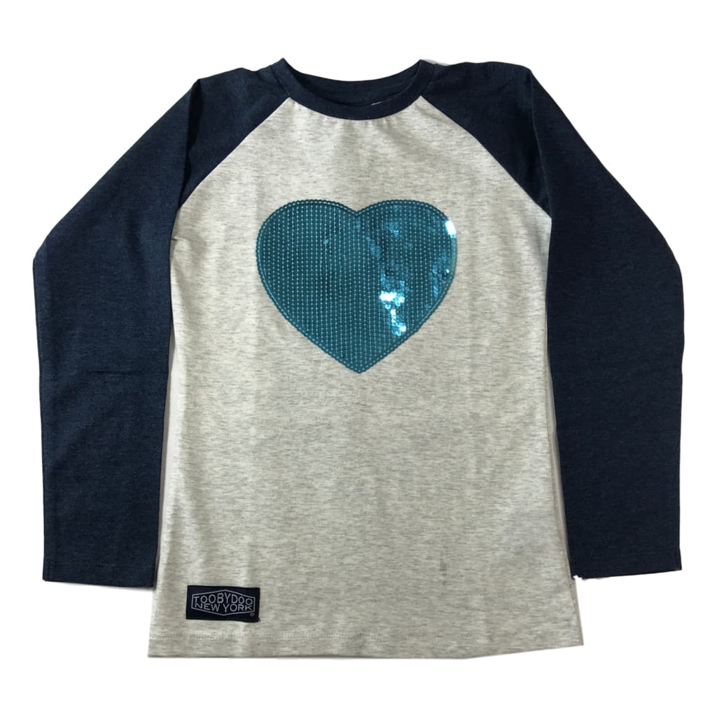 Toobydoo Blue Glitter Heart Baseball Tee - Frolicstyle