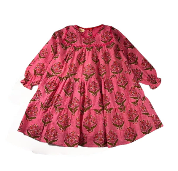 Almirah Long Sleeve Pink Girls Dress - Anya - Frolicstyle