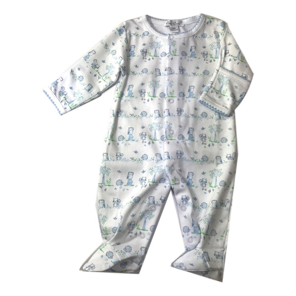 Kissy Kissy Long Sleeve Nature's Nursery Light Blue Footie - Frolicstyle