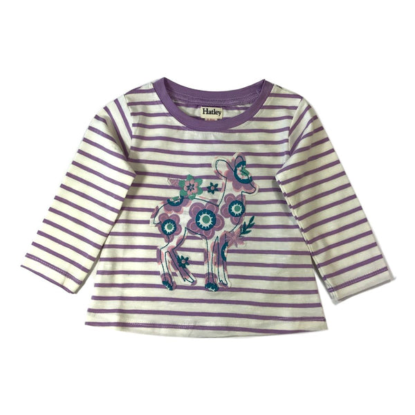 Hatley Baby White And Lilac Long Sleeve Deer Applique Tee - Frolicstyle