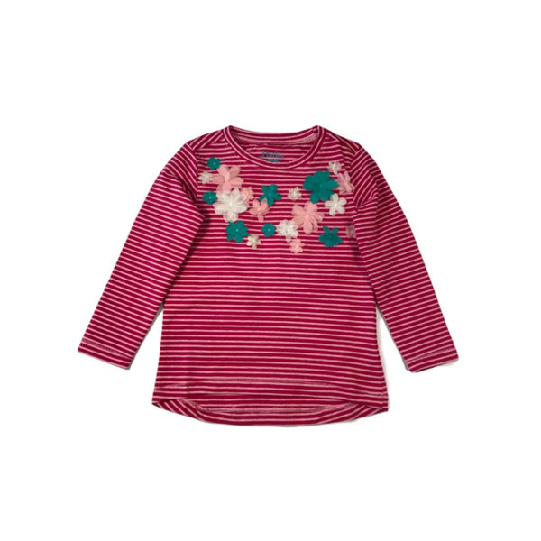 Hatley Girls Fuchsia Candy Striped Long Sleeve Applique Tee - Frolicstyle