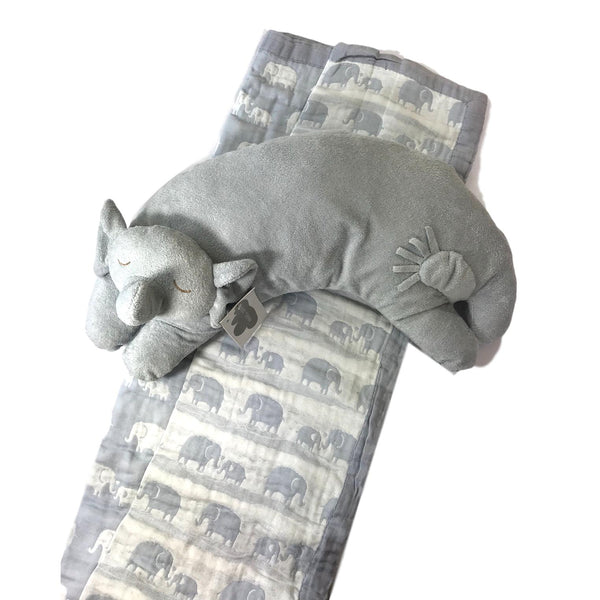 Angel Dear Grey Elephant Pillow and Large Jacquard Blanket - Frolicstyle