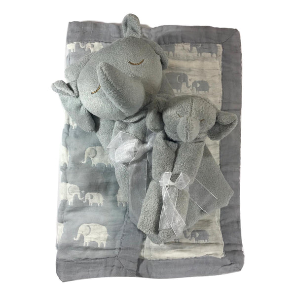 Angel Dear Grey Elephant Lovie, Jacquard and Nap Blanket - Frolicstyle