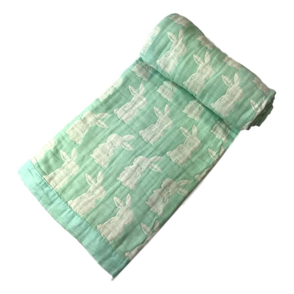 "Angel Dear 46"" x 38"" Mint Green Bunny Jacquard Blanket - Frolicstyle"