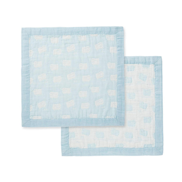 "Angel Dear 17"" x 17"" Sheep Blue Jacquard Blankie - Frolicstyle"
