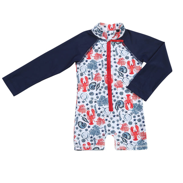Egg Baby Jessie Shortalls Red and Blue Rashguard - Frolicstyle