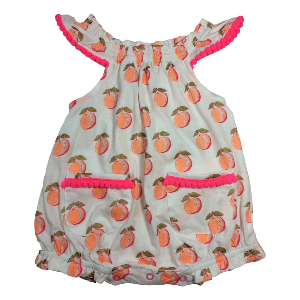 Egg Baby Kiera Sleeveless Peach Print Romper - Frolicstyle