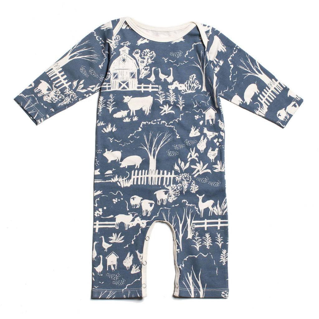 Winter Water Factory Farm Next Door Long Sleeve Romper - Frolicstyle