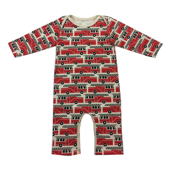 Winter Water Factory Firetruck Red Long Sleeve Romper - Frolicstyle