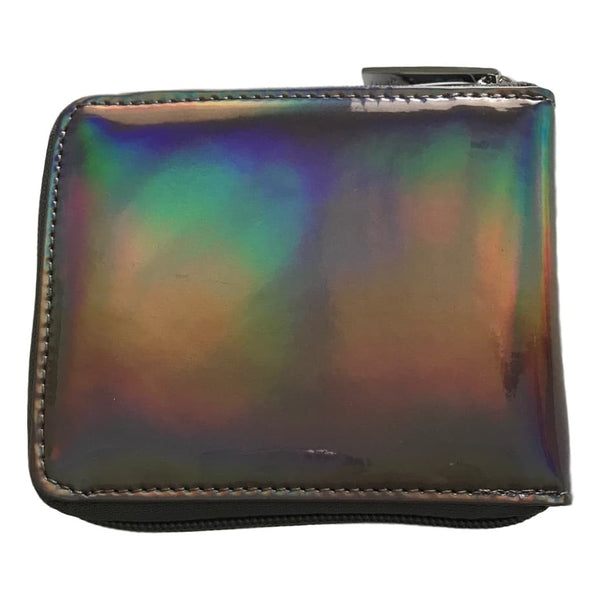 Bari Lynn 5 Inch Pewter Hologram Finish Zip Close Wallet - Frolicstyle