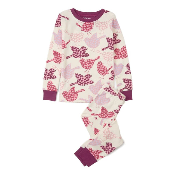 Hatley Girls Birds Of A Feather Two Piece Organic Cotton Pajamas - Frolicstyle