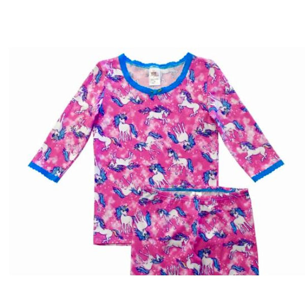 Esme Girls Pajamas 3/4 Sleeve Pink Unicorn Blue Lace