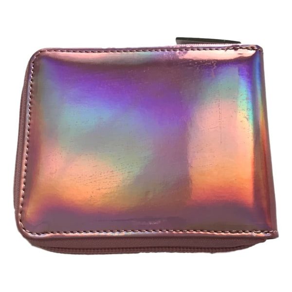 Bari Lynn 5 Inch Pink Hologram Finish Zip Close Wallet - Frolicstyle