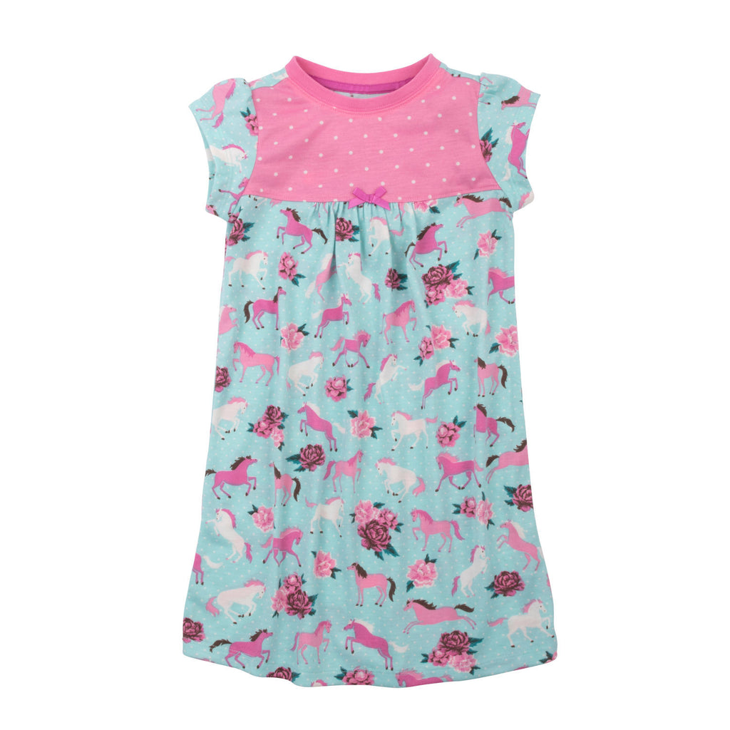 Hatley Ponies and Peonies Short Sleeve Nightgown - Frolicstyle