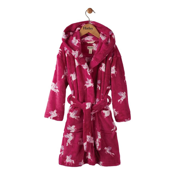 Hatley Girls Winged Unicorn Fuchsia Fleece Robe - Frolicstyle