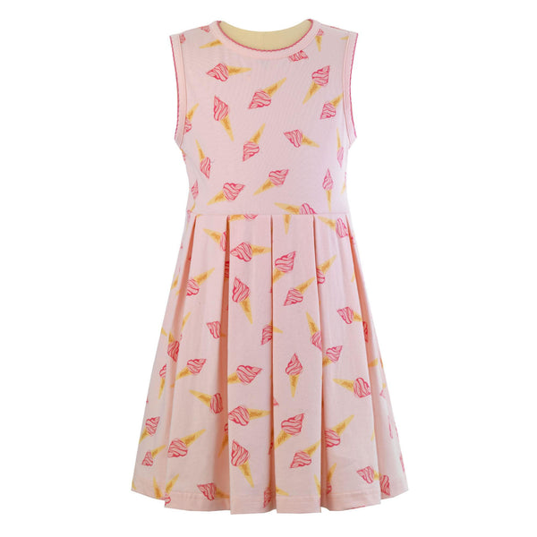 Rachel Riley Sleeveless Pink Ice Cream Cone Jersey Dress - Frolicstyle