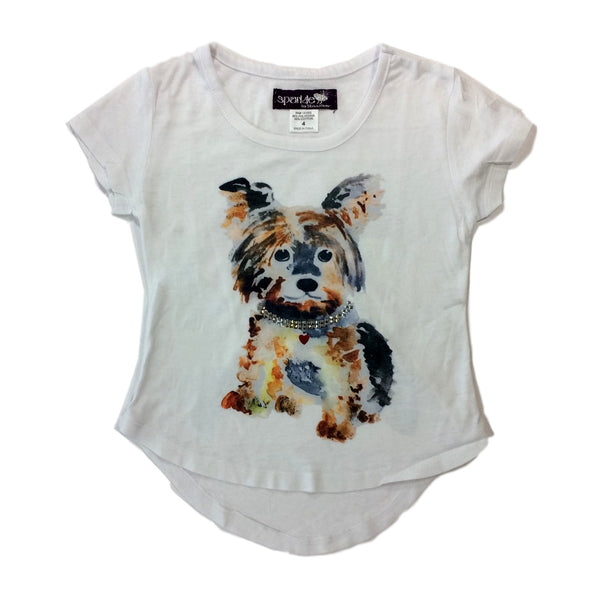 Sparkle by Stoopher Frankie Dog White Short Sleeve Tee - Frolicstyle