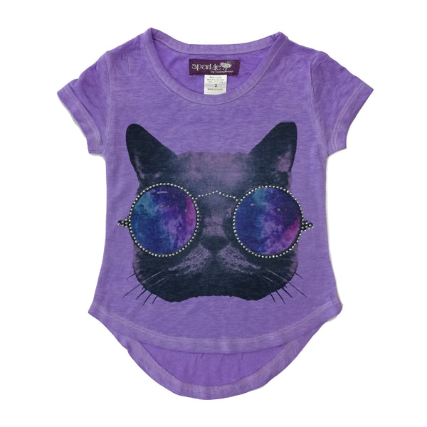 Sparkle by Stoopher Cat Eyes Lavender Short Sleeve Tee - Frolicstyle