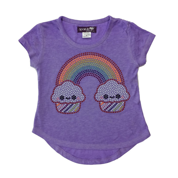 Sparkle by Stoopher Rainbow Cupcake Purple High Lo Hem Tee - Frolicstyle