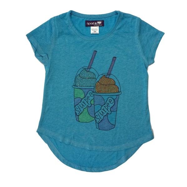 Sparkle by Stoopher Slurpie Graphic Turquoise High Lo Hem Tee - Frolicstyle